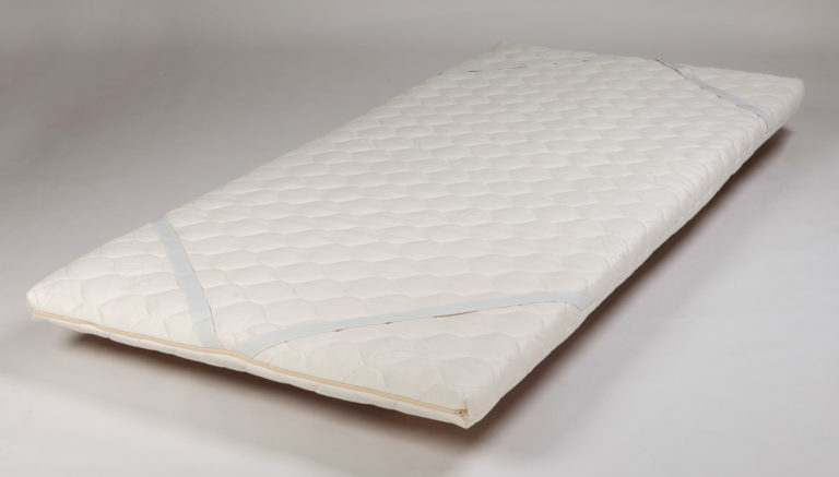 Topper Pad 5cm Latex with Wool and Knitted Cover, Single (Showing Corner Elastic Straps)